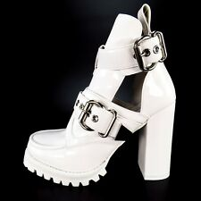 Jeffrey Campbell Craven-4 Chunky High Heel Bootie Size 10 M White Shiny Lug Sole