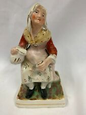 Victorian Staffordshire Ornament Of Old Lady Pouring Drink