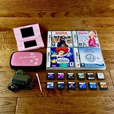 Nintendo Ds Lite Console Bundle Pink 16 Games Genuine Charger Case Stylus fwo