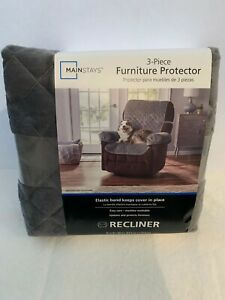 NEW NIP Gray Grey 3-Piece Furniture Protector Recliner Cover Velour Soft Quilted