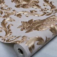 Luxury Metallic Gold and Cream Textured Damask Wallpaper Home Room Wall Paper