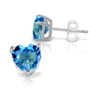 Genuine Blue Topaz Gemstones Hearts Stud Earrings 14K Yellow, White or Rose Gold