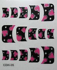 Accessoire ongles nail art ,Stickers autocollant - motifs roses fond noir