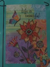 "Meadow Creek Life Is Beautiful Decorative Garden Flag 12""X18""-Free Shipping"