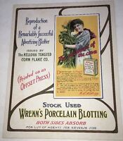 1913 Wrenns Porcelain Blotting Sign Kelloggs Blotter Manufacturer Cardboard Vint