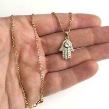 "18K gold filled Hamsa good luck Necklace 20"" Long/ Cadena de Mano 20"" - N15"