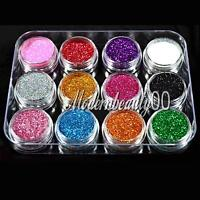 12 PCS MIX COLOURS GLITTER DUST POWDER SET for Nail Art ACRYLIC TIPS DECORATION