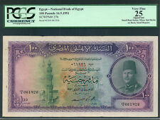 Egypt:P-27b,100 Pounds,1951 * King Farouk * PCGS VF 25 *