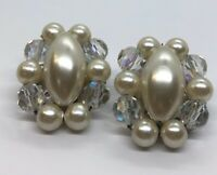 Vintage Earrings Cluster Bead Clip On Rhinestone