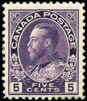 Canada #112 mint F-VF NH 1922 King George V 5c violet Admiral CV$110.00