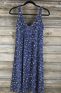 CAbi Stretch Knit Blue Small Sleeveless A-Line Knee Length Dress Ruched Detail