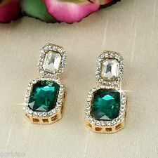 E9 Vintage Look Wedding Prom Party Green Crystal Stud Earrings in Gift Box