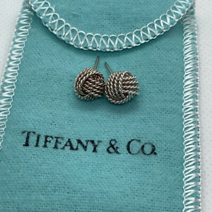 Tiffany & Co Sterling Silver Mesh Weave Rope Twist Knot Stud Earrings