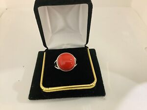 Red Coral Sterling Silver  Gemstone Statement Ring Size 9
