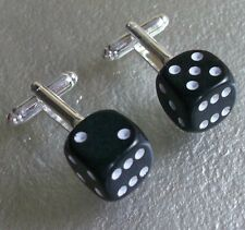 LUCKY DICE DOUBLE 6 CUFFLINKS BLACK CASINO GAMBLING ROLL OF THE DICE 60S MOD NEW