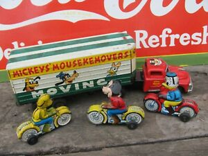 1950s Line Mar Toys Japan  Mickey Mouse Movers Truck n  trailer Friction *