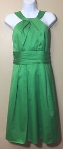 Davids Bridal Womens Size 4 Emerald Green Halter Formal Dress Pockets Party