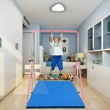 Adjustable Junior Kip Bar 3'- 5' Gymnastics Horizontal Bar for Kids Home Pink