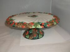 Fitz & Floyd Holiday Pines Christmas Pine Cones Holly Footed Cake Plate Mint