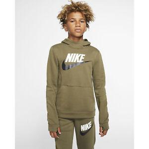 Nike NSW Club Pullover Fleece Hoodie Big Kids Boy's Olive Green BV0783-222 NEW