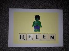 HANDMADE MARVEL HULK PERSONALISED BIRTHDAY CARD +  MINI FIGURE ( FITS LEGO)