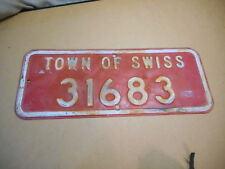 """Town of Swiss, Wisconsin Address Sign, Vintage Rural Fire Sign, 20 by 8"""" Burnett"""