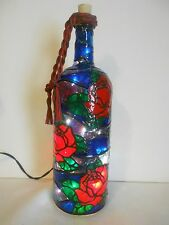 Pretty Roses Bottle Lamp Stained Glass look