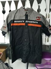 Harley Davidson Men's Embroidered Button Garage Shop Motorcycle Shirt mechanic