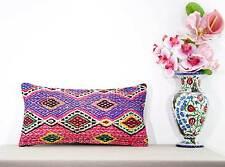 Pinky Lumbar Kilim Pillow Cover Boho Chic Kelim Rug 10x20 Sofa Outdoor Cushion