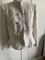 Tahari Womens Fringe-Trim Blazer Jacket, Off-White, Size 10p .  New With Tags