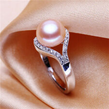 Beautiful Freshwater Pearl Pink Women Fashion Silver Party Jewelry Lady Ring