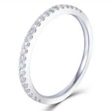 10K White Gold Half Eternity Wedding 23 Pieces Moissanite Stone Wedding Band