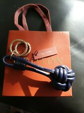 OROTON Keyring Blue Leather Knot NEW