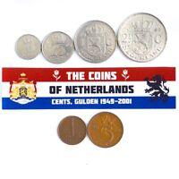 NETHERLANDS SET OF 6 DUTCH COINS: QUEEN JULIANA (1949 - 1980), CENTS, GULDEN