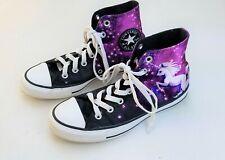 Womens CONVERSE black purple unicorn sneakers 7 Chucks tennis shoes high top