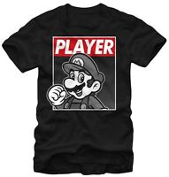 Nintendo Super Mario Player Hero Black Men's Graphic T-shirt New