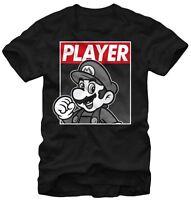 Nintendo Super Mario Player Hero Black Men's T-shirt New