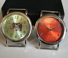 SET OF 2 ORANGE/GREEN ELEPHANT/PLAIN WATCH FACES FOR BEADING,RIBBON OR OTHER USE