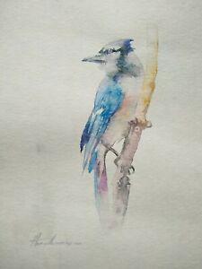 Blue Jay, Birds, Watercolor artwork, Handmade, Original painting on paper