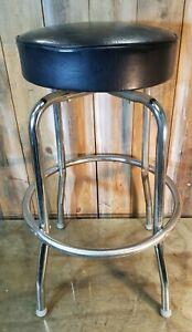 Vintage SWIVEL BAR STOOL BLACK SEAT CHROME '50's ANTIQUE RETRO DECOR