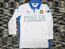 Kappa Italia Rugby Long Sleeve Shirt Mens Large Jaguar White and Blue Collared