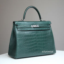 AUTHENTIC HERMES KELLY  Vert Titien Croc 35cm  with silver hardware