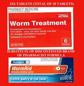 => 3X6 (18) TABLETS Pharmacy Action Worm treat = PF THREAD WORM RID Combantrin1