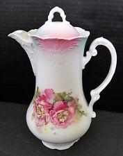 Vintage Chocolate Tea Coffee Pot Underglazed w Rose Design
