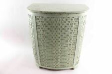 Vintage Green Wicker Laundry Clothes Hamper