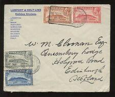 GIBRALTAR 1933 ADVERTISING ENVELOPE CRUISE LAMPORT + HOLT + SLOGAN TOURIST KEY