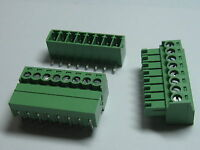 20 pcs Screw Terminal Block Connector 3.5mm Angle 8 pin/way Green Pluggable Type
