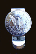 Western Jewelry Money Clip Bright American Eagle Silver Dollar Concho Repro.
