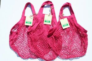 3 x String Shopping Bags, recycled unbleached cotton,short Handles