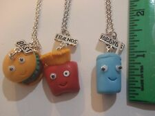 BFF 3 Necklaces Hamburger Fries & Soda Charms with Faces :-) Best Friends 4ever